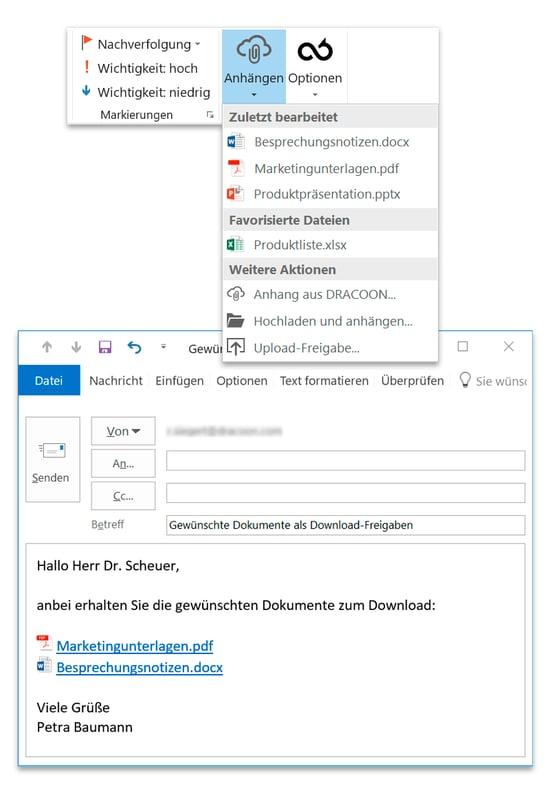 Mit DRACOON für Outlook lösen Sie Ihre Anforderungen an E-Mail-Verschlüsselung über ein einfaches Outlook Add-In